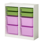 Ikea Trofast storage system; bins come in lots of other colors