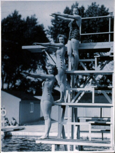 women on diving board